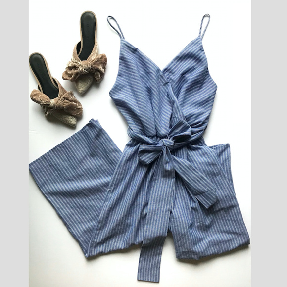 0b871b26a583 Sienna Sky Blue White Striped Jumpsuit with Bow. M 5b2d2e324ab6331a10156691